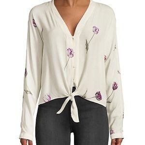 Rails Sloane Tulips Tie Front Blouse Ivory Size L
